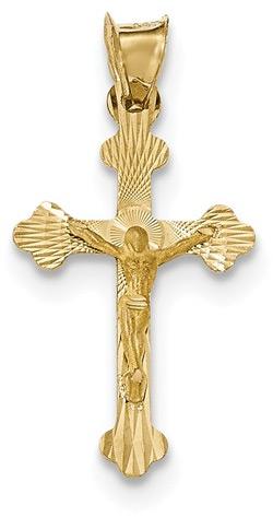 14K Gold Crucifix Pendant with Diamond-Cut Design