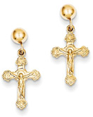 Dangling Crucifix Design Earrings in 14K Gold
