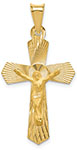 Diamond-Cut Crucifix Pendant, 14K Yellow Gold