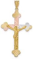 Fleur-de-Lis Tri-Color Crucifix Pendant, 14K Gold