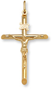 Men's 14K Fully Solid Gold Crucifix Pendant