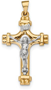 INRI Designer Crucifix Pendant in 14K Two-Tone Gold