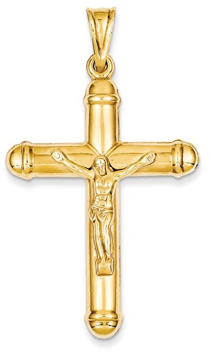 Large Reversible Crucifix Pendant in 14K Yellow Gold