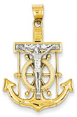 Mariner Cross Pendant, 14K Two-Tone Gold