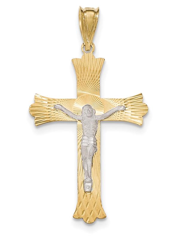 Men's 14K Two-Tone Gold Diamond-Cut Crucifix Necklace
