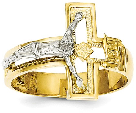 Men's Gold Crucifix Ring, 14K Two-Tone Gold