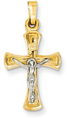 Modern Art Crucifix Pendant, 14K Two-Tone Gold