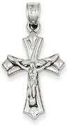 Modern Crucifix Pendant, 14K White Gold
