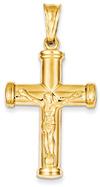 Large 14K Gold Polished Crucifix Necklace