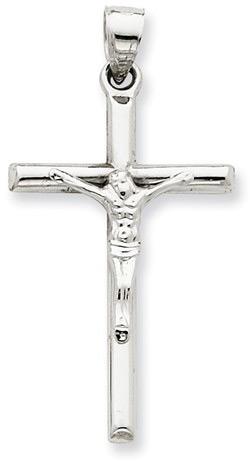 Polished Plain Crucifix Necklace, 14K White Gold