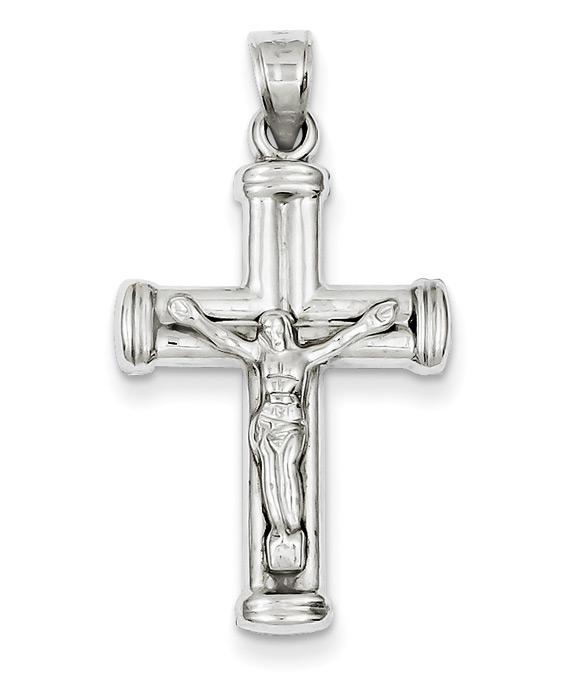 Reversible 14K White Gold Crucifix Cross Pendant