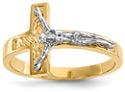 Textured Womens Crucifix Ring, 14K Two-Tone Gold