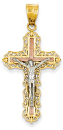 Tri-Color Gold Crucifix Pendant in 14K
