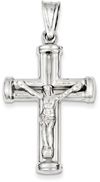 Large 14K White Gold Crucifix Necklace