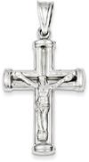 Large 14K White Gold Crucifix Necklace