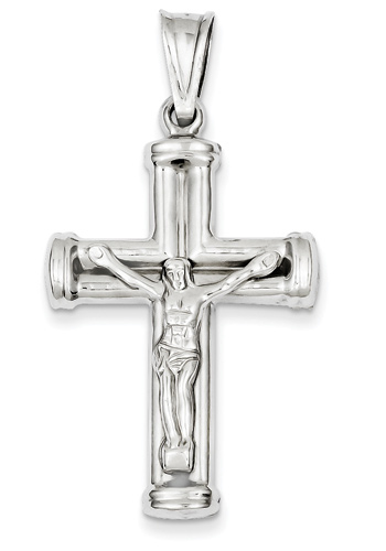 Large 14k white gold crucifix necklace aloadofball Image collections