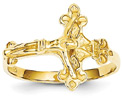 Womens Fluerie Crucifix Ring in 14K Gold