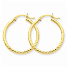 Diamond-Cut 2mm Round Tube Hoop Earrings, 14K Gold