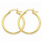 Diamond-Cut 2mm Round Tube Hoop Earrings, 14K Gold