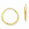 1.25mm Diamond-Cut Endless Hoop Earring, 14K Gold