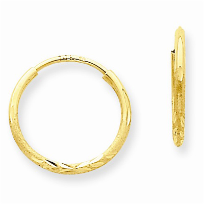 1.25mm Diamond-Cut Endless Hoop Earring, 14K Gold