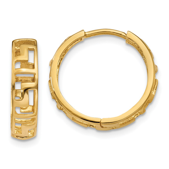 14K Gold Cut-Out Greek Key Huggie Hoop Earrings