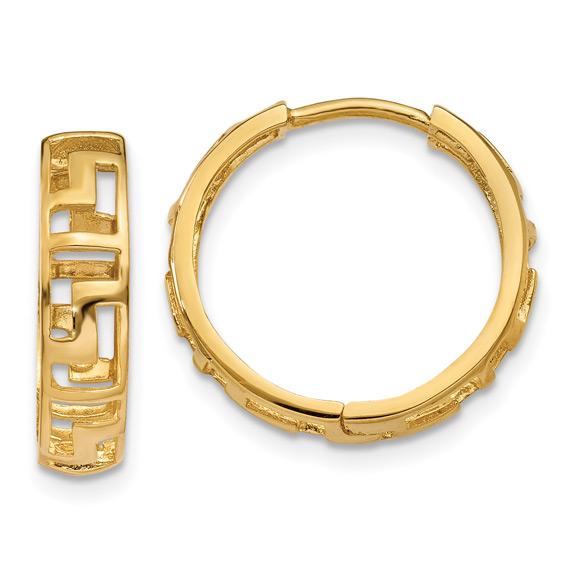 14K Gold Cut-Out Greek Key Huggie Hoop Earrings