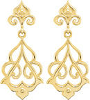 14K Yellow Gold Decorative Dangle Earrings