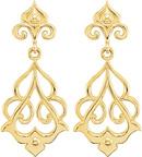 14K Yellow Gold Decorative Dangle Earrings