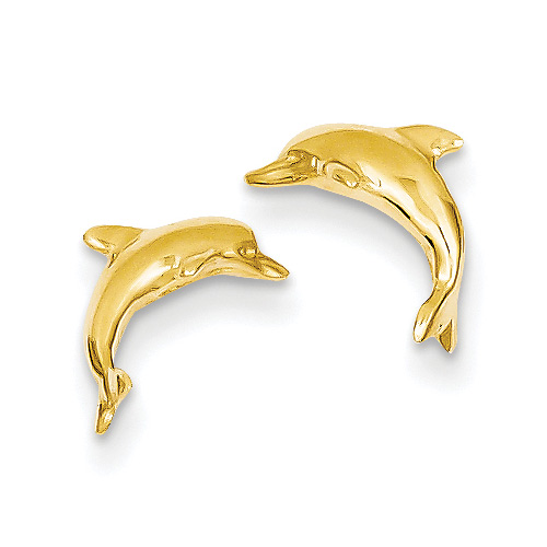 14k Gold Dolphin Stud Earrings