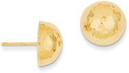 Hammered Button Earrings, 14K Gold (5/8
