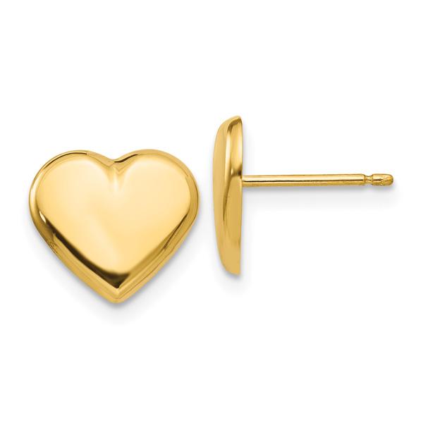 Italian Heart Post Stud Earrings, 14K Gold