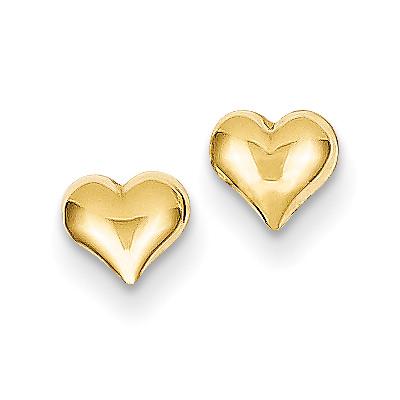 Heart Stud Earrings, 14K Gold