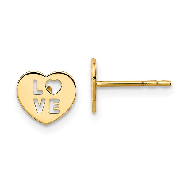 Small 14K Gold Love Heart Stud Earrings