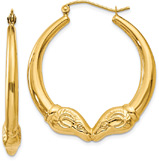 14K Gold Ram Hoop Earrings, 1 3/8
