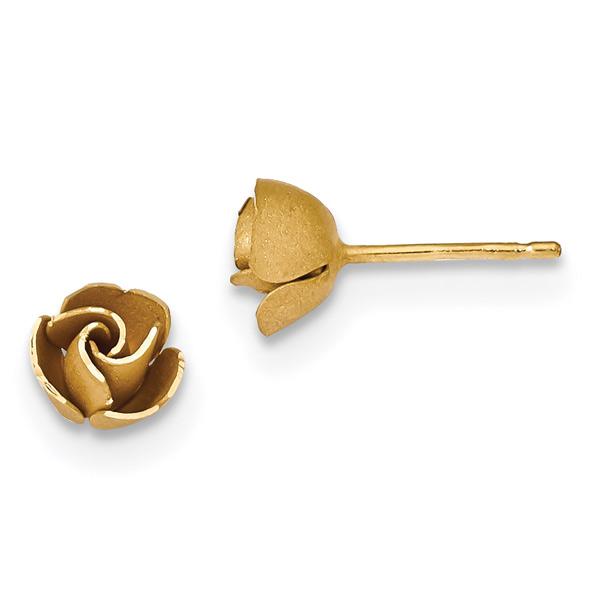 14K Gold Rose Shaped Earrings