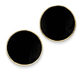 14K Gold Round Black Onyx Earrings