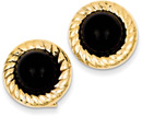 14K Gold Black Onyx Earrings with Swirl Pattern