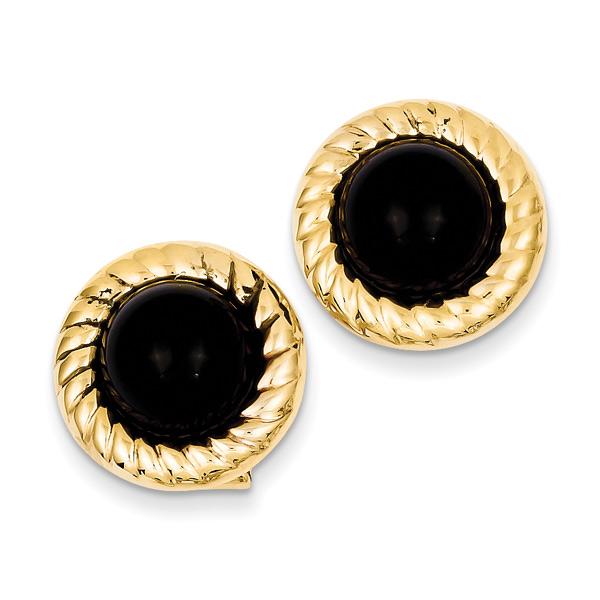 14K Gold Black Onyx Earrings with Swirl Pattern