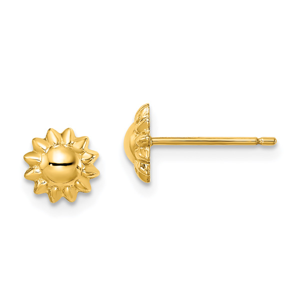 14K Gold Sunflower Post Stud Earrings