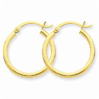 14k Gold Polished 2mm Round Hoop Earrings