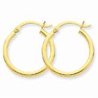 14k Gold Polished 2mm Round Hoop Earrings