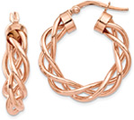 14K Rose Gold Braided Hoop Earrings