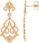 14K Rose Gold Decorative Dangle Earrings