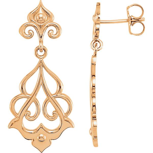 14K Rose Gold Decorative Dangle Earrings