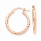 14K Rose Gold Diamond-Cut Hoop Earrings