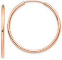 14K Rose Gold Endless Hoop Earrings (1 1/8