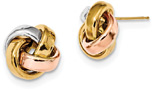 14K Tri-Color Gold Love-Knot Earrings