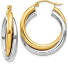 14K Two-Tone Gold Double Hoop Earrings (11/16