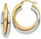 14K Two-Tone Gold Double Hoop Earrings (11/16
